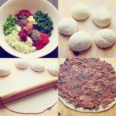 Make vegan with veggie ground round .Lahmacun flat bread with lamb and tomatoes Armenian Recipes, Lebanese Recipes, Turkish Recipes, Armenian Food, Persian Recipes, Middle Eastern Dishes, Middle Eastern Recipes, Pastry Recipes, Dessert Recipes