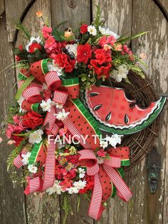 Watermelon Summer wreath,Summer wreath, watermelon wreath, watermelon grapevine wreath,watermelon front door wreath,summer front door wreath by FancyThatDecor on Etsy https://www.etsy.com/listing/510274938/watermelon-summer-wreathsummer-wreath