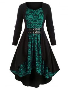 Plus Size Totenkopf Spitze Halloween High Low Kleid The post Plus Size Skull Lace High Low Kleid appeared first on Mode für Frauen. Casual Dresses Plus Size, Plus Size Casual, Plus Size Outfits, Dress Casual, Vestidos Vintage, Vintage Dresses, Vestidos Rockabilly, Cocktail Vestidos, Stitching Dresses