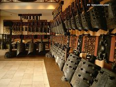 Full set of ancient Chinese bronze bells from the tomb of the Marquis Yi of Zeng.  The bells were inscribed with music notations that detailed the relationship among the pitch standards of Zeng, Chu and Zhou.