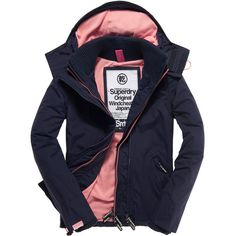 Superdry Arctic Windcheater Jacket ($99) ❤ liked on Polyvore featuring outerwear, jackets, zipper jacket, fleece lined jacket, zip jacket, hooded zip jacket and blue windbreaker jacket