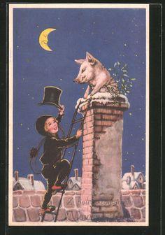 schöne AK Schornsteinfeger zieht den Hut vor einem Glücksschwein in Sammeln & Seltenes, Ansichtskarten, Motive | eBay
