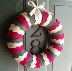 scallops, holiday, felt wreath, christmas colors, wave, front doors, decorations, kids, wreaths