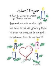 Advent Prayer With Actions Cute Advent prayer/poem to help students count the weeks until Christmas. Includes a guide to teach gestures to go along with the prayer. Preschool Christmas, Christmas Activities, Christmas Traditions, Kids Christmas, Christmas Crafts, Christmas Tables, Nordic Christmas, Modern Christmas, Christmas Prayer