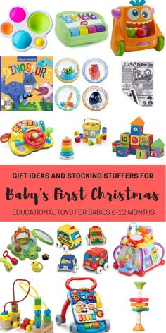 Gift ideas and stocking stuffers for baby's first Christmas. Educational toys for babies 6-12 months including toys that promote sitting, standing, crawling and walking! A list of 20 gift ideas including a short description of how they promote babies development.