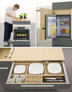 kitchen work station storage and awesome compact kitchen island!