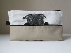 pug pencil case funny black pug toiletry cosmetic pouch by MosMea