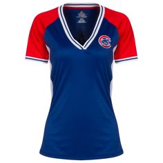 Chicago Cubs Women's Royal, Red, and White Crawl Bear Jersey V-Neck Tee by Majestic #Chicago #Cubs #ChicagoCubs