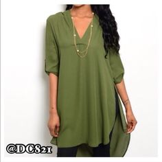 Olive Hi Low Tunic Nice quality olive high low tunic with V neck. Gold button detail on sleeves. Made of poly/rayon blend. Size S, M Tops Tunics