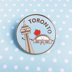 Toronto Enamel Pin - Canada CN Tower Rogers Centre Skydome maple leaf lapel cute cartoon souvenir by queeniescards on Etsy https://www.etsy.com/ca/listing/468757920/toronto-enamel-pin-canada-cn-tower