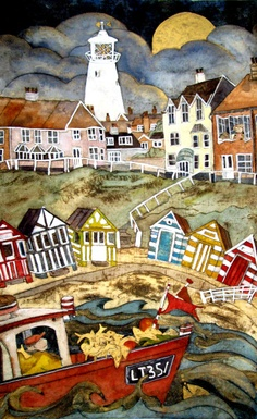 He saw her waiting by golden moon, Southwold, collograph with water colour by Mandy Walden