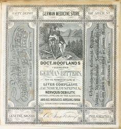 Specimen medical box advertisement Doct. Hoofland's German Bitters.