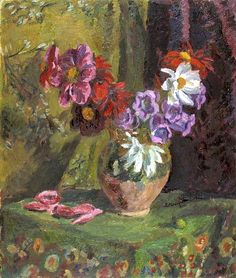 Dahlias and Canterbury Bells by Vanessa Bell