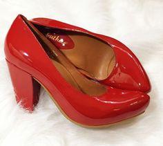 Earthies Talera Bright Red Retro Pinup Pumps Leather Comfort Career Heels 6.5  #Earthies #PumpsClassics #WeartoWork