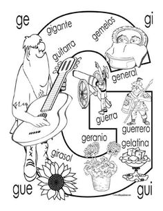 "Soft ""G"" coloring page… Preschool Spanish, Spanish Classroom, Spanish Lesson Plans, Spanish Lessons, Spanish Language Learning, Teaching Spanish, Speech Language Therapy, Speech And Language, Spanish Worksheets"