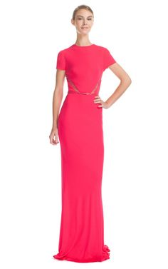 Elie Saab: berry jersey long dress with lace inserts at waist