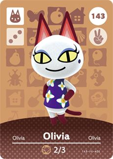 amiibo card Olivia of the Animal Crossing Cards - Series 2 was first released on 2015 Oct 29 in Japan. Animal Crossing Cats, Animal Crossing Amiibo Cards, Animal Crossing Wild World, Animal Crossing Characters, Animal Crossing Villagers, Nintendo 3ds, Aquarius Birthday, Motif Acnl, Cat Character