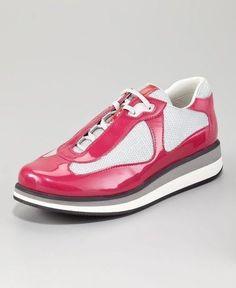 PRADA America's Cup Sneakers Shoes Fuschia  #PRADALINEAROSSA #Sneakers