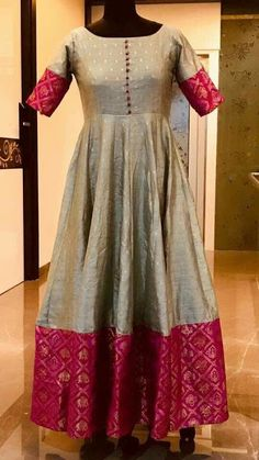 Indian gowns dresses - Long Dresses made out of old and Damaged Sarees LongDresses – Indian gowns dresses Salwar Designs, Half Saree Designs, Kurti Designs Party Wear, Long Gown Dress, Saree Dress, The Dress, Sari, Long Dresses, Cotton Long Dress