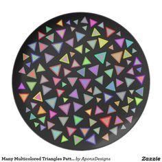 Many Multicolored Triangles Pattern Triangle Pattern, Triangles, Color Patterns, Decorative Plates, Colorful, Design, Home Decor, Homemade Home Decor, Colour Pattern