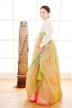 Woman in Hanbok with Gayageum