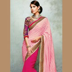 Pink and Fuchsia Faux Georgette Saree with Blouse