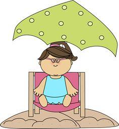 Girl Sitting in a Beach Chair Under an Umbrella