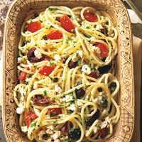 Spaghetti with Tomatoes, Black Olives, Garlic and Feta Cheese - Pasta Greek Tomato Sauce Recipes - Delish.com