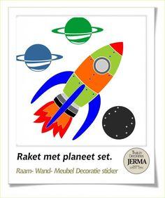 Kinderkamer decoratie sticker Grote Raket met planeet set als raam ...