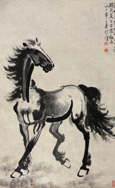 Acuarela b/n caballo