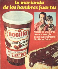 Nocilla: the Spanish version of Nutella Vintage Labels, Vintage Ads, Vintage Posters, Retro Ads, Party Fiesta, Retro Images, Old Ads, Ben And Jerrys Ice Cream, Vintage Recipes
