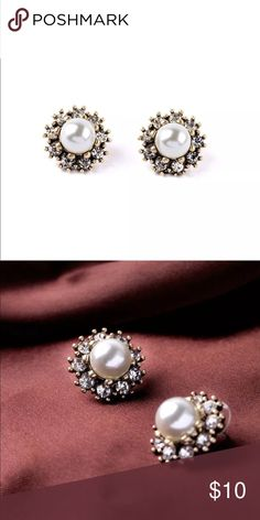 ❤️Paved Pearl Earrings❤️ New in packaging. Jewelry Earrings
