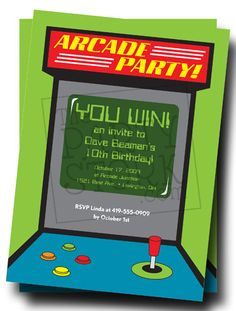 Arcade Birthday Party Invitations: Digital Printable Invite More Designs Available on Etsy, $10.00