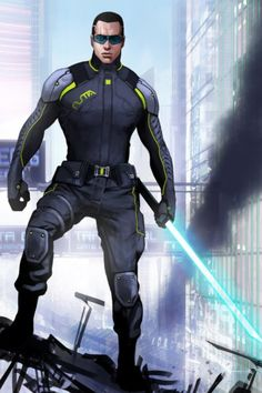 Jedi type character that could be in a futuristic movie. By Fribly.com