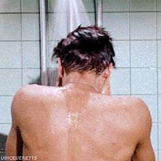 "Elvis during shooting of ""shower scene"" - G.I. Blues 1960"