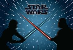Drawing featuring Star Wars characters Luke and Darth Vader in a duel. Lightsabers form a cross. Features the Star Wars logo and background is blue with