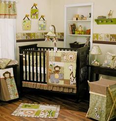 Green and brown nursery with a jungle theme