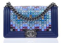 Chanel Runway Blue Multicolor Lambskin Medium Boy Bag With Mosaic Embroideries By Lesage New Chanel Bags, Chanel Purse, Chanel Handbags, Chanel Boy Bag, Chanel Runway, Lesage, Blue Handbags, Blue Purse, Handbags Online