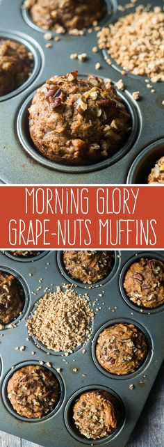 Morning Glory Grape-Nuts®️ Muffins  Morning Glory Grape-Nuts®️ Muffins. A breakfast muffin packed with so much healthy goodness – also, no sweetener except for a little bit of honey!! #sponsored #spoonfulsofgoodness