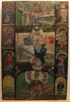 Los Siete Principes/The Seven Archangels. A 19th Century Spanish Colonial (Mexico) canvas painting by an anonymous artist.