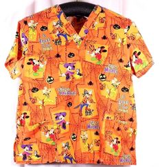 Disney Size XL See Measurements Scrub Top Halloween Mickey Mouse Tricky Mickey #Disney