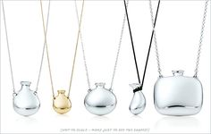 This summer Tiffany & Co. represents new collection of bottle-shaped pedants by Elsa Peretti. Decorated with precious metals and gemstones these beautiful sterling bottles will be a perfect Elsa Peretti, Modern Jewelry, Silver Jewelry, Fine Jewelry, Perfume, Bottle Necklace, Antique Bottles, Tiffany Jewelry, Jewelery