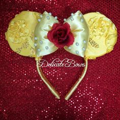 Disney inspired belle ears beauty and the beast princess belle enchanted rose belle belle ears disney ears Diy Disney Ears, Mickey Mouse Ears Headband, Disney Mickey Ears, Disney Diy, Disney Crafts, Disney Girls, Disney 2017, Enchanted Rose, Enchanted Princess