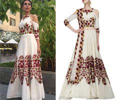 manish malhotra, karishma kapoor, white, floral, anarkali, gown