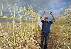 Theo Jansen, working on a 'Strandbeest'