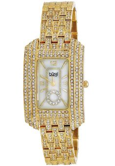 Price:$108.00 #watches Burgi BUR053YG, This exceptional Burgi ladies, dazzling crystal, quartz watch is perfect for any occasion. Glistening crystals accent bezel, bracelet, and mother of pearl dial.