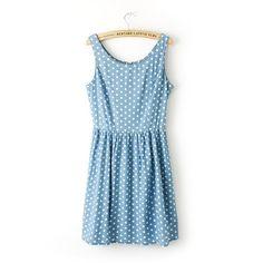 Polk Dots Printed Vest Dress 060511