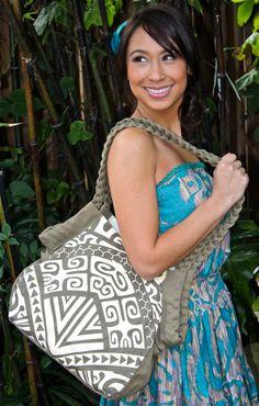 Island print hobo bag