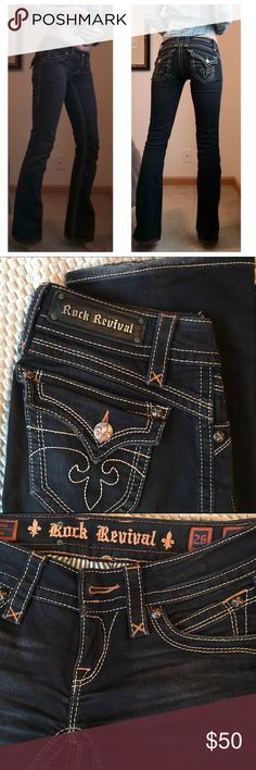 "Rock Revival Jeans Oh my goodness these need a girl with a flatter tummy. I sucked it in to model these low risers...so you're welcome! Lol..... They still make my butt & thighs look good though. Rock's are the best booty shapers. I love the gold contrast stitching and manufacturer distressing. Light fraying in the hems. Flat measurements:  32"" inseam, 7"" rise, 13 1/2"" waist. This color & contrast stitching is very hard to find. Most are flat black & too blingy. So versatile for all dressing…"