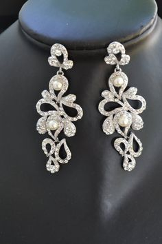 Ludmila wedding chandelier bridal earrings by simplychic93 on Etsy, $56.00